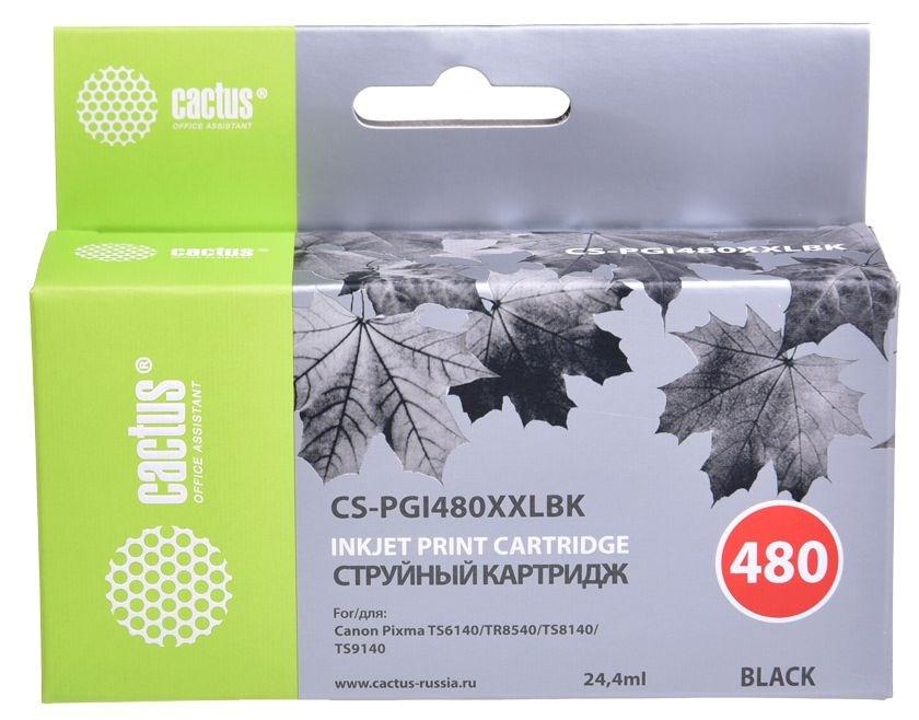 Струйный картридж Cactus CS-PGI480XXLBK (PGI-480PGBK XXL) черный для Canon Pixma TR7540, TR8540, TS6140, TS8140, TS9140 (600 стр.) фото