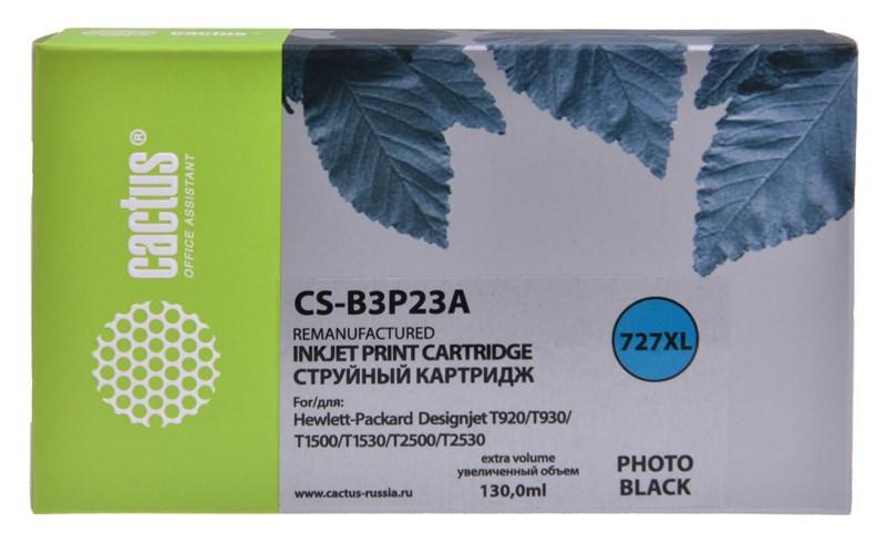 Струйный картридж Cactus CS-B3P23A (HP 727) фото черный увеличенной емкости для HP DesignJet T920 ePrinter (CR354A), T930, T1500 ePrinter (CR356A), T1500 PostScript (CR357A), T1530, T2500 eMFP (CR358A), T2530 (130 мл.) фото