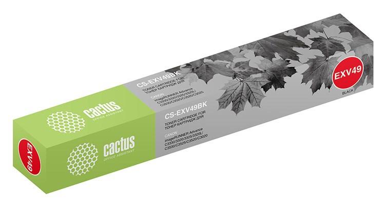 Лазерный картридж Cactus CS-EXV49BK (C-EXV49) черный для Canon ImageRunner Advance C3320, C3320i, C3325i, C3330i, Advance C3500 series, Advance C3520i MFP, Advance C3525i MFP, Advance C3530i MFP (36'000 стр.) фото