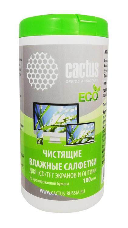 Салфетки Cactus CS-1001PE для экранов и оптики туба 100 шт влажных фото