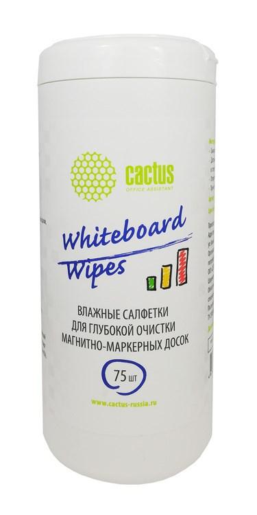 Салфетки Cactus CS-WB075 для маркерных досок туба 75шт влажных фото