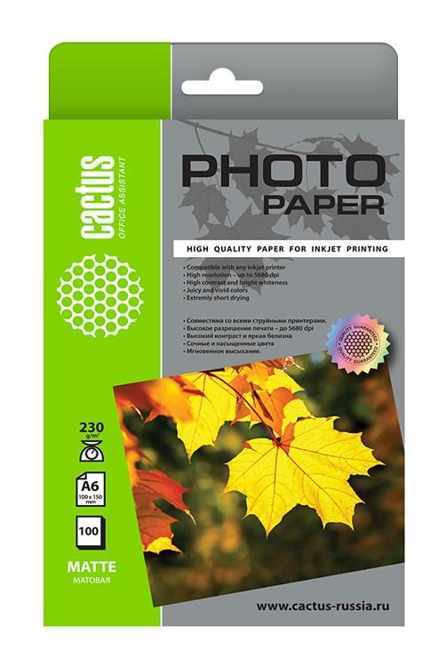 Фотобумага Cactus CS-MA6230100 10x15, 230г/м2, 100л, белая матовая для струйной печати фото