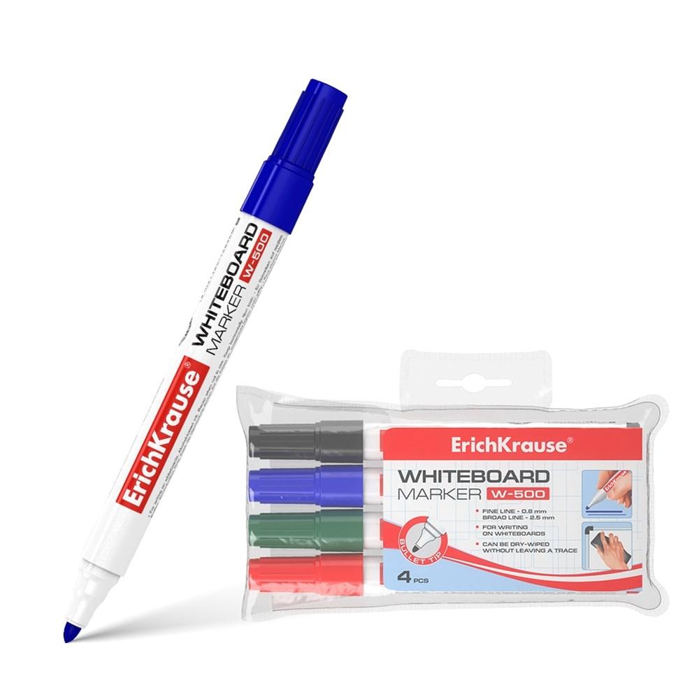 Набор маркеров для досок ErichKrause W-500, цвет чернил: черный, синий, красный, зеленый (4 шт.) фото