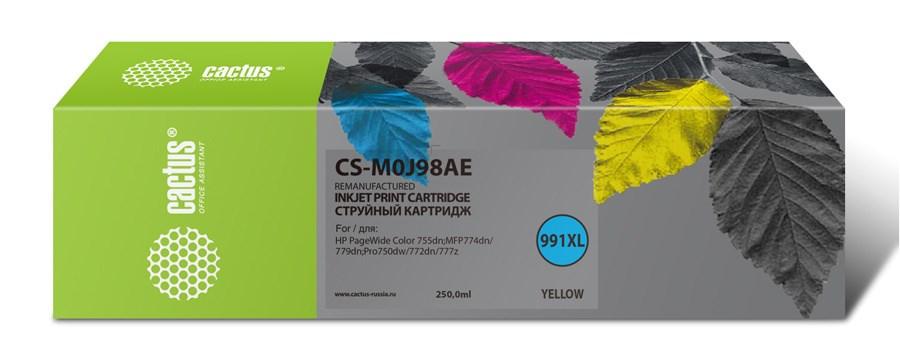 Струйный картридж Cactus CS-M0J98AE (HP 991) желтый увеличенной емкости для HP PW 755dn, MFP 774dn, 779dn, Pro 750dw, 772dn (250 мл.) фото