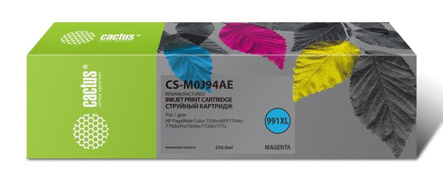Струйный картридж Cactus CS-M0J94AE (HP 991) пурпурный увеличенной емкости для HP PW 755dn, MFP 774dn, 779dn, Pro 750dw, 772dn (250 мл.) фото