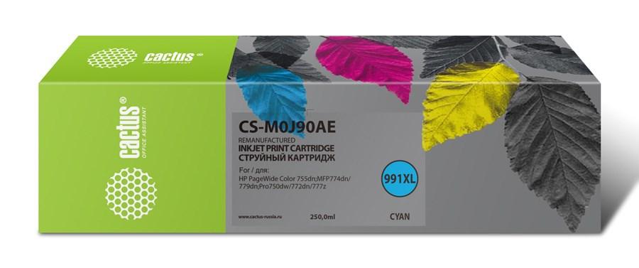 Струйный картридж Cactus CS-M0J90AE (HP 991) голубой увеличенной емкости для HP PW 755dn, MFP 774dn, 779dn, Pro 750dw, 772dn (250 мл.) фото