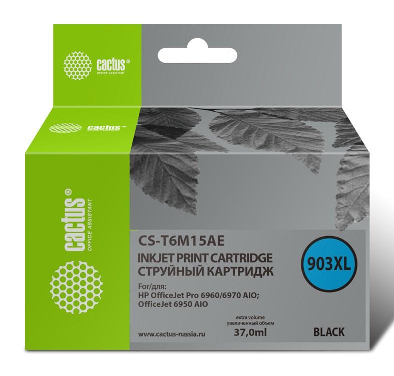 Струйный картридж Cactus CS-T6M15AE (903XL) черный для HP OfficeJet pro 6950, 6960, 6970 (37 мл.) фото