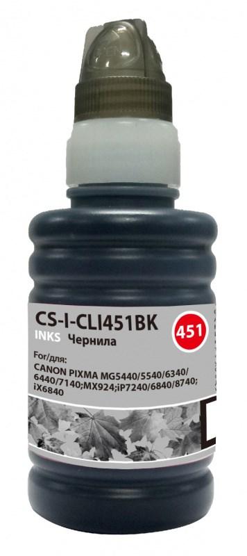 Чернила Cactus CS-I-CLI451BK черный (100 мл) для Canon Pixma iP6840, iP7240, iP8740, iX6840, MG5440 фото