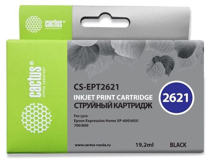 Струйный картридж Cactus CS-EPT2621 (26XL) черный для принтеров Epson Expression Premium XP-600, XP-700, XP-710, XP-800, XP-820 (19,2 мл.) 845543