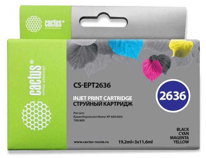 Струйный картридж Cactus CS-EPT2636 (26XL) набор для принтеров Epson Expression Premium XP-600, XP-700, XP-710, XP-800, XP-820 (65,6 мл.) 845548