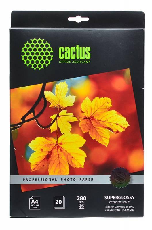 Фотобумага Cactus Prof CS-HGA428020 A4, 280г/м2, 20л., белый глянцевое для струйной печатиФотобумага<br><br>