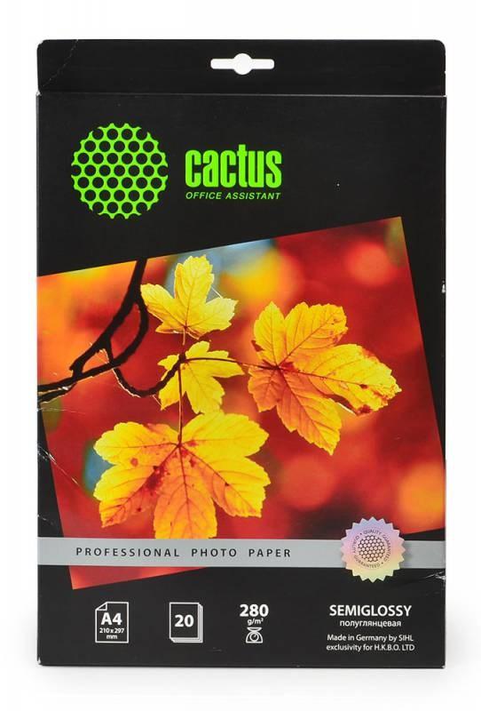 Фотобумага полуглянцевая Cactus Prof CS-SGA428020 A4, 280г/м2, 20л.