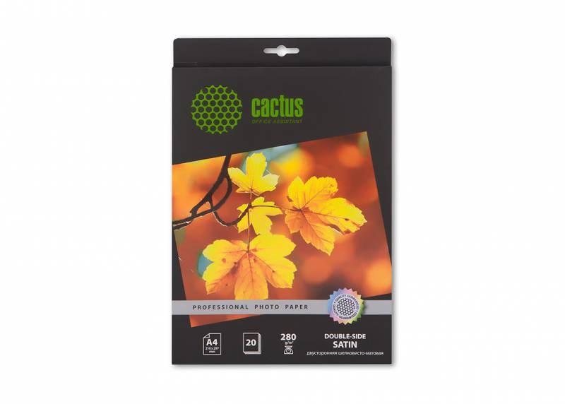 Фотобумага Cactus CS-SMA428020DS A4, 280г/м2, 20л., белый шелковисто-матовое сатин для струйной печатиФотобумага<br><br>