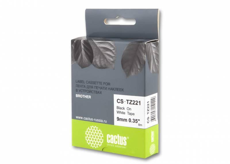 Лента Cactus CS-TZ221 (TZE-221) черный для принтеров P-touch PT-1010, PT-1280, PT-1280VP, PT-2700VP (9 мм x 8 м)Ленты для печати наклеек<br>Лента Cactus CS-TZ221 (TZE-221) предназначена для использования в принтерах Brother P-touch PT-1010, PT-1280, PT-1280VP, PT-2700VP<br>nbsp;<br><br>Размер: 9 мм x 8 м<br>nbsp;<br><br>Гарантия 12 месяцев