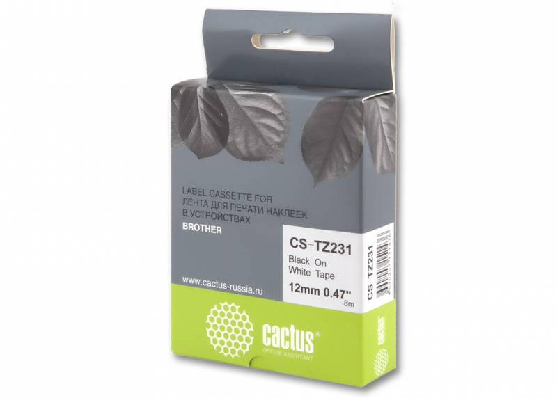 Лента Cactus CS-TZ231 (TZE-231) черный для принтеров P-touch PT-1010, PT-1280, PT-1280VP, PT-2700VP (12 мм x 8 м)Ленты для печати наклеек<br>Лента Cactus CS-TZ231 (TZE-231) предназначена для использования в принтерах Brother P-touch PT-1010, PT-1280, PT-1280VP, PT-2700VP<br>nbsp;<br><br>Размер: 12 мм x 8 м<br>nbsp;<br><br>Гарантия 12 месяцев