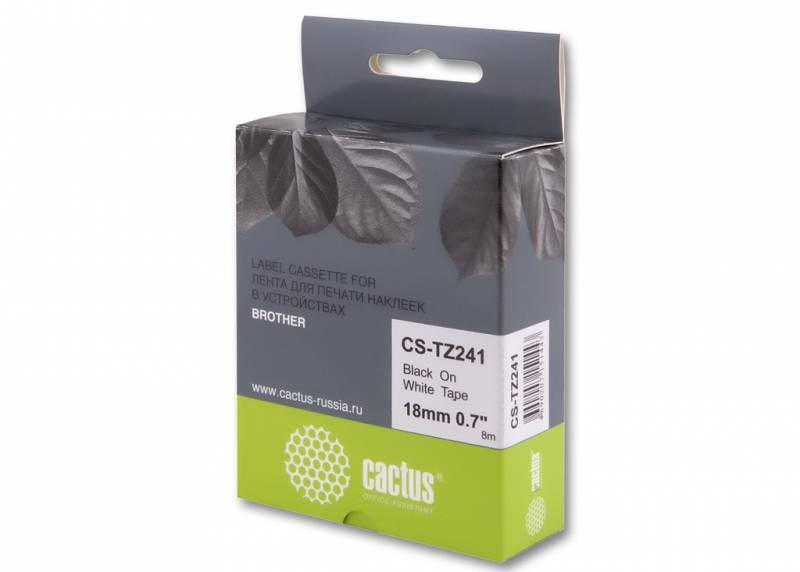 Лента Cactus CS-TZ241 (TZE-241) черный для принтеров P-touch PT-1010, PT-1280, PT-1280VP, PT-2700VP (18 мм x 8 м)Ленты для печати наклеек<br>Лента Cactus CS-TZ241 (TZE-241) предназначена для использования в принтерах Brother P-touch PT-1010, PT-1280, PT-1280VP, PT-2700VP<br>&amp;nbsp;<br><br>Размер: 18 мм x 8 м<br>&amp;nbsp;<br><br>Гарантия 12 месяцев<br>