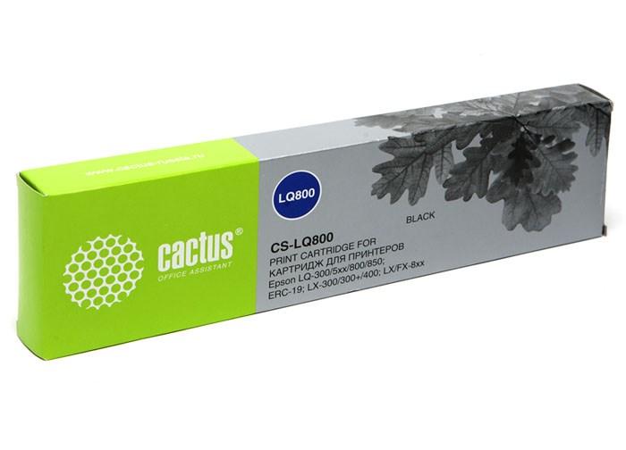 Матричные картриджи Cactus CS-LQ800 черный для Epson LQ-300, 5xx, 800, 850, ERC-19, LX-300, 300+, 400, FX-8xx