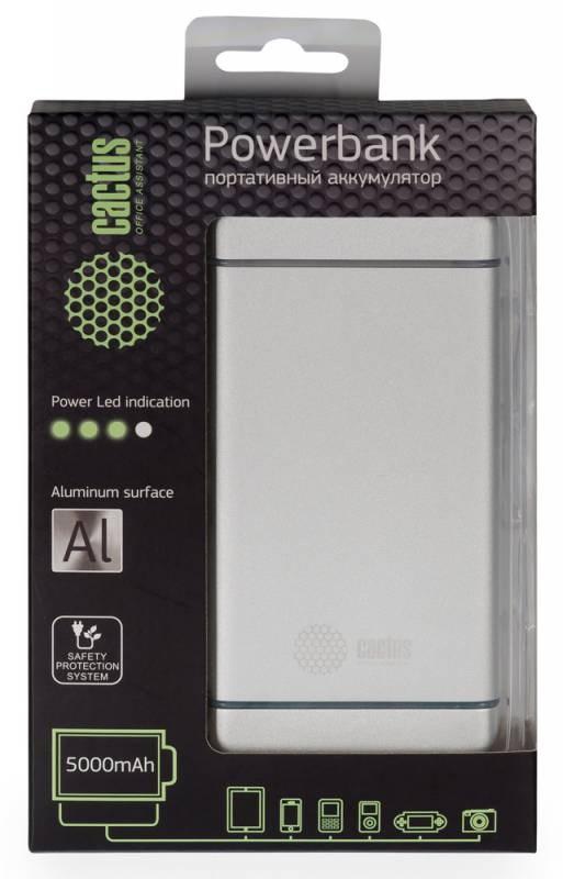 Мобильный аккумулятор Cactus CS-PBMS028-5000AL 5000mAh 2.1A серебристыйМобильные аккумуляторы<br><br>