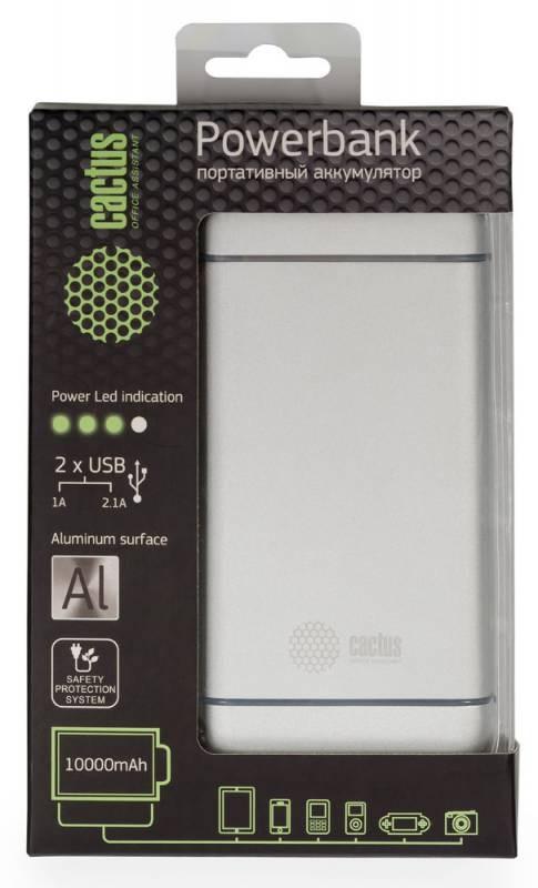 Мобильный аккумулятор Cactus CS-PBMS029-10000AL 10000mAh 1A+2.1A серебристыйМобильные аккумуляторы<br><br>