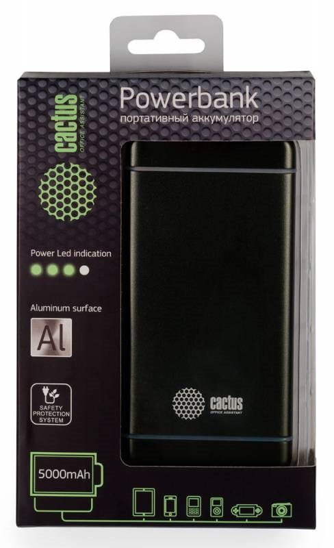 Мобильный аккумулятор cactus cs-pbms028-5000sg 5000mah 2.1a