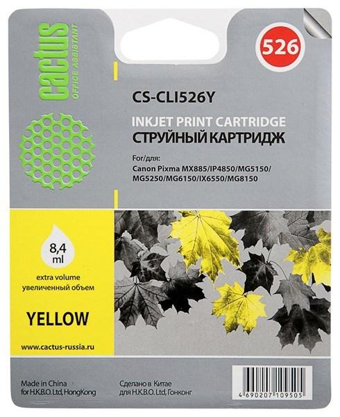 Струйный картридж Cactus CS-CLI526Y (CLI-526Y) желтый для принтеров Canon Pixma MX885, IP4850, MG5150, MG5250, MG6150, IX6550, MG8152 (500 стр.)Струйные картриджи<br>Струйный картридж Cactus CS-CLI526Y (CLI-526Y) создан для использования в принтерах Canon Pixma MX885, IP4850, MG5150, MG5250, MG6150, IX6550, MG8152Ресурс картриджа 500Гарантия 12 месяцев<br>