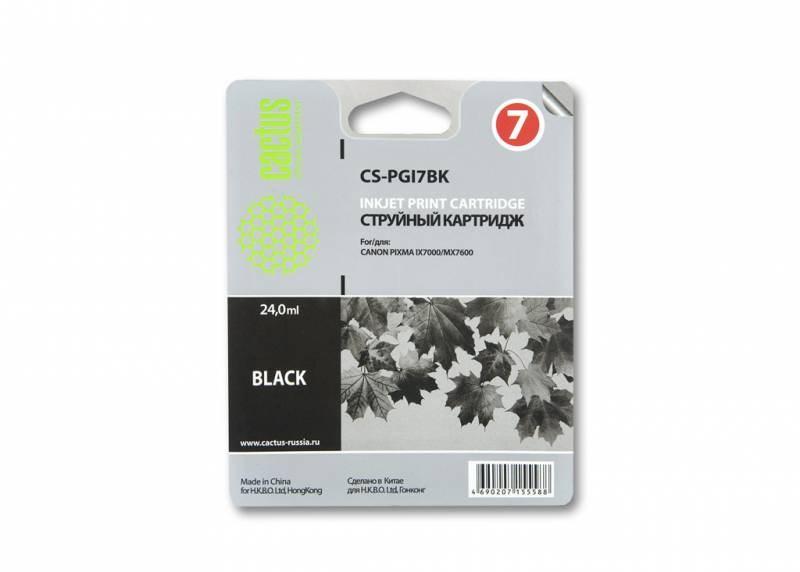 Струйный картридж Cactus CS-PGI7BK (2444B001) черный для Canon Pixma iX7000, MX7600 (570 стр.)