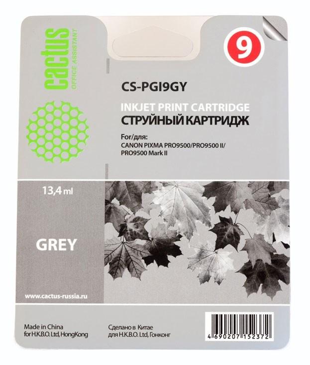 Струйный картридж Cactus CS-PGI9GY (1042B001) серый для Canon Pixma iX7000, MX7600, PRO-9500, PRO9500 Mark II (650 стр.)