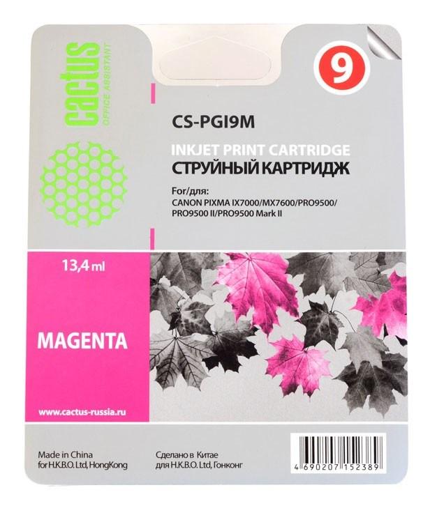 Струйный картридж Cactus CS-PGI9M (1036B001) пурпурный для Canon Pixma iX7000, MX7600, PRO-9500, PRO9500 Mark II (650 стр.)