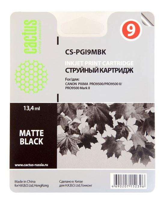 Струйный картридж Cactus CS-PGI9MBK (1033B001) черный матовый для Canon Pixma iX7000, MX7600, PRO-9500, PRO9500 Mark II (650 стр.)