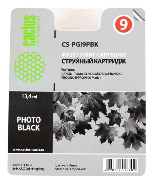 Струйный картридж Cactus CS-PGI9PBK (PGI-9PBk) фото черный для Canon Pixma iX7000, MX7600, PRO-9500, PRO9500 Mark II (650 стр.) 727332