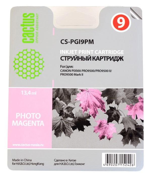 Струйный картридж Cactus CS-PGI9PM (1039B001) фото пурпурный для Canon Pixma iX7000, MX7600, PRO-9500, PRO9500 Mark II (650 стр.)