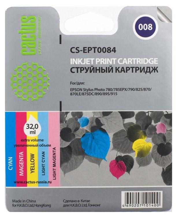 Струйный картридж Cactus CS-EPT0084 (C13T00840110) цветной для принтеров Epson Stylus Photo 790, 870, 875DC, 890, 895, 895EX, 915 (220 стр.)Струйные картриджи<br>Струйный картридж Cactus CS-EPT0084 (C13T00840110) создан для использования в принтерах Epson Stylus Photo 790, 870, 875DC, 890, 895, 895EX, 915<br>&amp;nbsp;<br><br>Ресурс картриджа 220 стр.<br>&amp;nbsp;<br><br>Гарантия 12 месяцев<br>