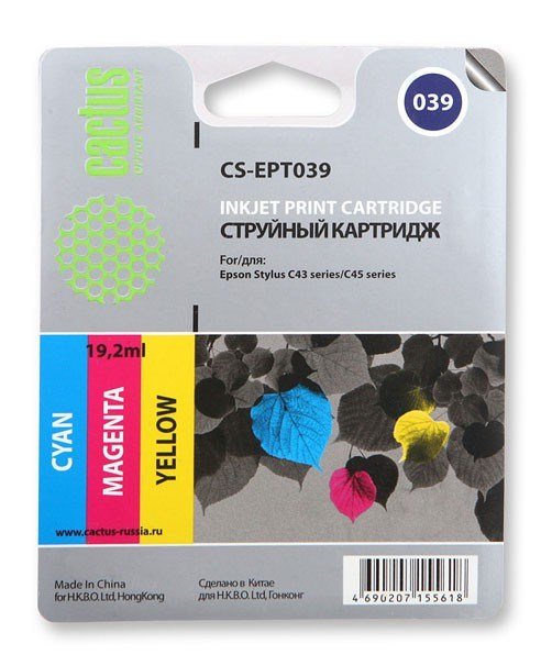 Струйный картридж Cactus CS-EPT039 (C13T03904A10) цветной для принтеров Epson Stylus C43, C46 (180 стр.)Струйные картриджи<br>Струйный картридж Cactus CS-EPT039 (C13T03904A10) создан для использования в принтерах Epson Stylus C43, C46Ресурс картриджа 180 стр.Гарантия 12 месяцев<br>