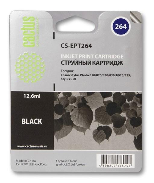 Струйный картридж Cactus CS-EPT264 (C13T02640110) черный для принтеров Epson Stylus C50, Photo 810, 820, 830, 830U, 925, 935 (12.6 мл)Струйные картриджи<br>Струйный картридж Cactus CS-EPT264 (C13T02640110) создан для использования в принтерах Epson Stylus C50, Photo 810, 820, 830, 830U, 925, 935<br>&amp;nbsp;<br><br>Ресурс картриджа 12.6 мл<br>&amp;nbsp;<br><br>Гарантия 12 месяцев<br>