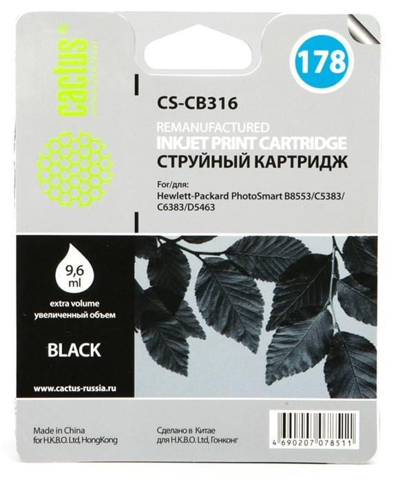 Струйный картридж Cactus CS-CB316 (HP 178) черный для HP DeskJet 3070A B611, 3522; PhotoSmart 5510 B111, 5520, 7520, B010, B110, B209, B210, B8553, C309, C310, C410, C5300, C5380, C5383, C6383, D5460, D5463 (9,6 мл.) фото