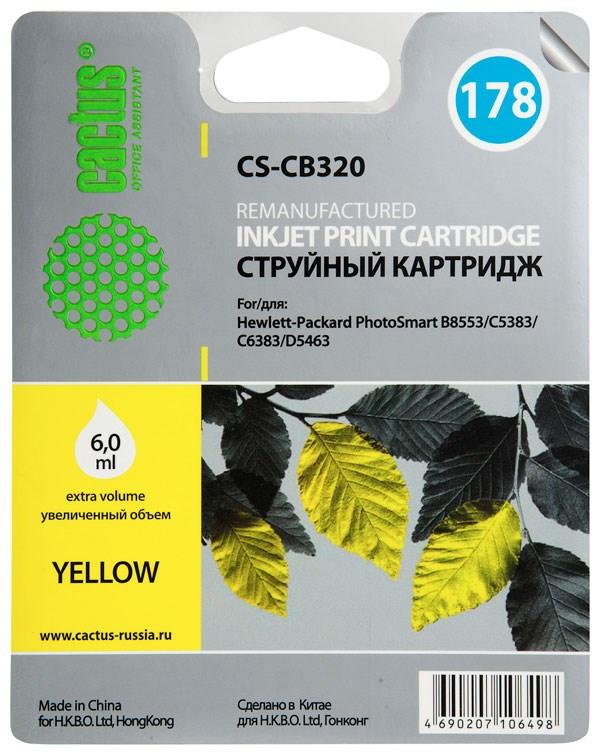 Струйный картридж cactus cs-cb320 (hp 178) желтый для hp deskjet 3070a b611, 3522; photosmart 5510 b111, 5520, 7520, b010, b110, b209, b210, b8553, c309, c310, c410, c5300, c5380, c5383, c6383, d5460, d5463 (6 мл.)