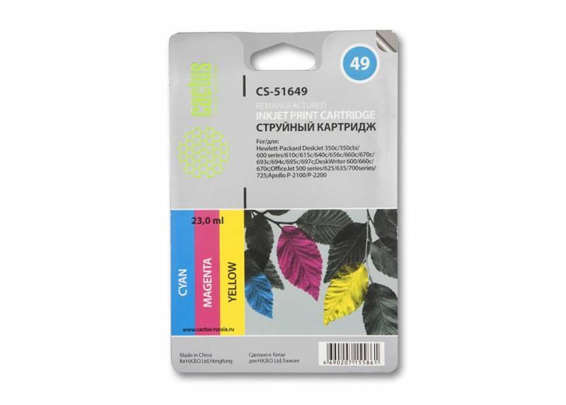 Струйный картридж cactus cs-51649 (hp 49) цветной для