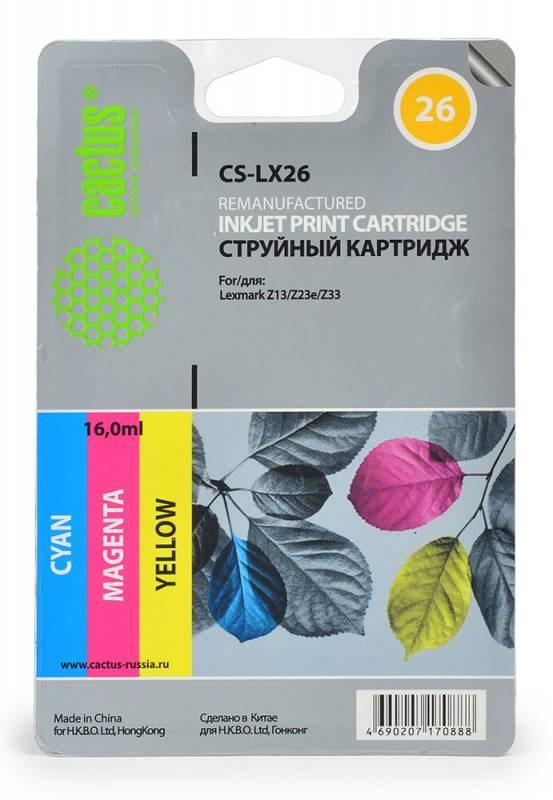 Струйный картридж Cactus CS-LX26 (10N0026) цветной для принтеров Lexmark - i3, X72, X74, X75, X75M, X1000, X1110, X1130, X1140, X1150, X1155, X1160, X1170, X1180, X1190, X1196, X1200, X1250, X1270, X2225, X2230, X2240, X2250, Z13, Z23, Z23E, Z24, Z25, Z25Струйные картриджи<br>Струйный картридж Cactus CS-LX26 (10N0026) создан для использования в принтерах Lexmark - i3, X72, X74, X75, X75M, X1000, X1110, X1130, X1140, X1150, X1155, X1160, X1170, X1180, X1190, X1196, X1200, X1250, X1270, X2225, X2230, X2240, X2250, Z13, Z23, Z23E, Z24, Z25, Z25L, Z33, Z34, Z35, Z503, Z510, Z511, Z512, Z514, Z515, Z516, Z517, Z520, Z601, Z602, Z603, Z605, Z611, Z612, Z614, Z615, Z617, Z640, Z645, Z717, Z817, Z819<br>&amp;nbsp;<br><br>Ресурс картриджа 275 страниц<br>&amp;nbsp;<br><br>Гарантия 12 месяцев<br>