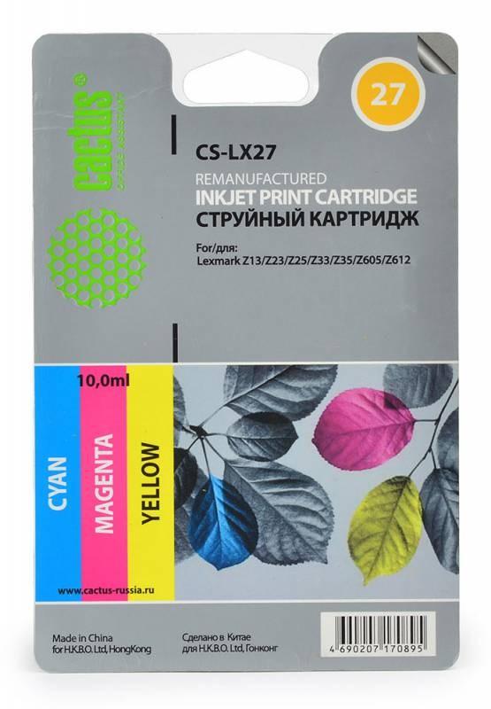 Струйный картридж Cactus CS-LX27 (80D2958) цветной для принтеров Lexmark - i3, X72, X74, X75, X75M, X1000, x1100, X1110, X1130, X1140, X1150, X1155, X1160, X1170, X1180, X1190, X1196, X1200, X1250, X1270, X2225, X2230, X2240, X2250, Z13, Z23, Z23E, Z24, ZСтруйные картриджи<br>Струйный картридж Cactus CS-LX27 (80D2958) создан для использования в принтерах Lexmark - i3, X72, X74, X75, X75M, X1000, x1100, X1110, X1130, X1140, X1150, X1155, X1160, X1170, X1180, X1190, X1196, X1200, X1250, X1270, X2225, X2230, X2240, X2250, Z13, Z23, Z23E, Z24, Z25, Z25L, Z33, Z34, Z35, Z503, Z510, Z511, Z512, Z514, Z515, Z516, Z517, Z520, Z601, Z602, Z603, Z605, Z611, Z612, Z614, Z615, Z617, Z640, Z645, Z717, Z817, Z819<br>&amp;nbsp;<br><br>Ресурс картриджа 140 страниц<br>&amp;nbsp;<br><br>Гарантия 12 месяцев<br>