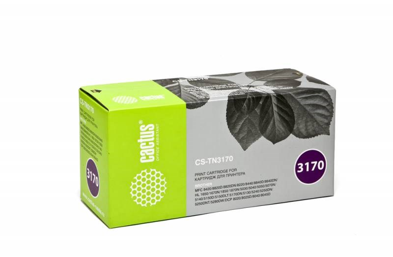 Лазерный картридж Cactus CS-TN3170 (TN-3170) черный для принтеров Brother HL-5240, HL-5240L, HL-5250DN, HL-5270DN, HL-5280DW, DCP-8060, DCP-8065DN, MFC-8460N, MFC-8860DN, MFC-8870DW (7'000 стр.) 807019