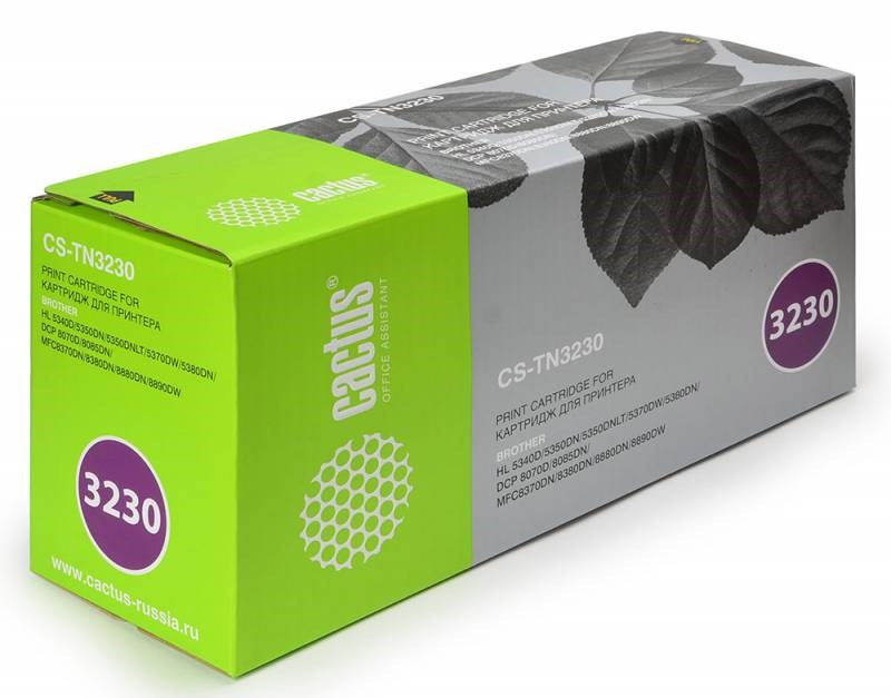 Лазерный картридж Cactus CS-TN3230 (TN-3230) черный для принтеров HL-5340D, HL-5340DL, HL-5350DN, HL-5350DNLT, HL-5370DW, HL-5380DN, DCP-8070D, DCP-8085DN, MFC-8370DN, MFC-8380DN, MFC-8880DN, MFC-8890DW (3000 стр.)