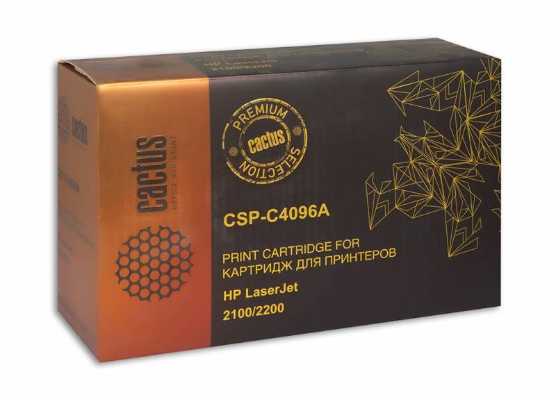 Лазерный картридж Cactus CSP-C4096A (HP 96A) черный для принтеров HP LaserJet 2100, 2100M, 2100TN, 2100SE, 2100Xi, 2200, 2200D, 2200DN, 2200DT, 2200DTN, 2200DSE (7000 стр.)Лазерные картриджи Premium<br>Лазерный картридж&amp;nbsp;Cactus CSP-C4096A&amp;nbsp;(HP 96A)&amp;nbsp;полностью аналогичен картриджу Hewlett-Packard C4096A (HP 96A). Его цвет - черный, а ресурс данной модели - порядка 7000 страниц (при 5% заполнении листа). Картридж Cactus CSP-C4096A совместим с различными моделями лазерных принтеров HP LaserJet 2100, 2100M, 2100TN, 2100SE, 2100XI, 2200, 2200D, 2200DN, 2200DT, 2200DTN, 2200DSE. Срок гарантийного обслуживания, который предоставляет Cactus - 1 год. Вобрав в себя все лучшие качества оригинала, картридж Cactus CSP-C4096A при этом стоит гораздо дешевле, что не может не радовать пользователей оргтехники, и особенно людей практичных, не привыкших бросать деньги на ветер.<br>