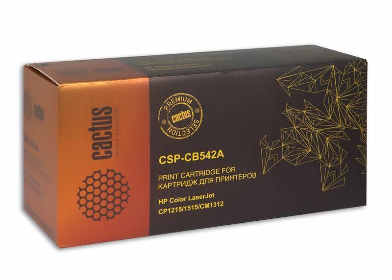 Лазерный картридж Cactus CSP-CB542A (HP 125A) желтый для принтеров HP  Color LaserJet CM1312, CM1312nfi, CP1210 series, CP1215, CP1217, CP1510 series, CP1515, CP1515n, CP1518, CP1518ni (2200 стр.)Лазерные картриджи Premium<br>Лазерный картридж&amp;nbsp;Cactus CSP-CB542A&amp;nbsp;(HP 125A)&amp;nbsp;полностью аналогичен картриджу Hewlett-Packard CB542A&amp;nbsp;(HP 125A). Его цвет - желтый, а ресурс данной модели - порядка 2200 страниц (при 5% заполнении листа). Картридж Cactus CSP-CB542A&amp;nbsp;совместим с различными моделями лазерных принтеров HP  Color LaserJet CM1312, CM1312nfi, CP1210 series, CP1215, CP1217, CP1510 series, CP1515, CP1515n, CP1518, CP1518ni. Срок гарантийного обслуживания, который предоставляет Cactus - 1 год. Вобрав в себя все лучшие качества оригинала, картридж Cactus CSP-CB542A&amp;nbsp;при этом стоит гораздо дешевле, что не может не радовать пользователей оргтехники, и особенно людей практичных, не привыкших бросать деньги на ветер.<br>