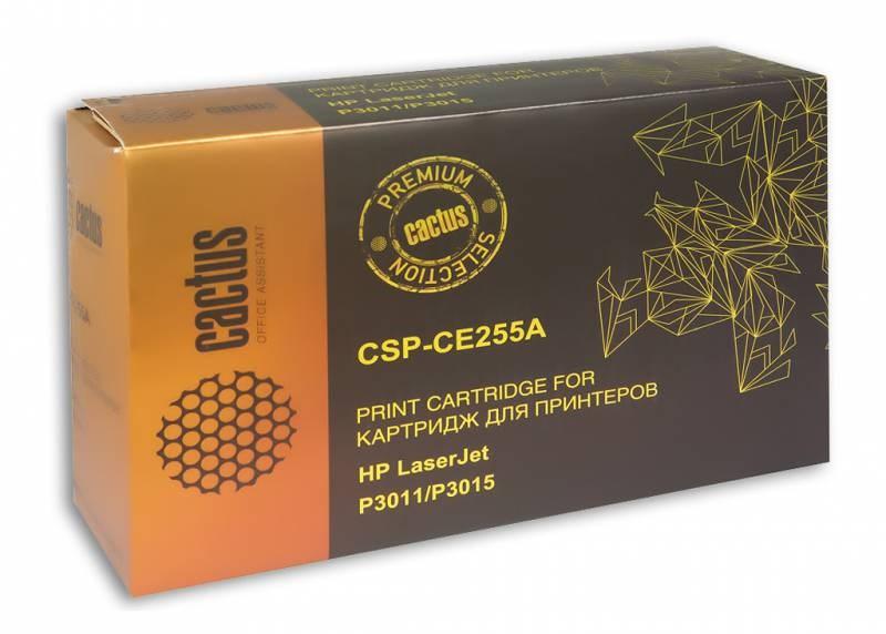 Лазерный картридж Cactus CSP-CE255A (HP 55A) черный для принтеров HP LaserJet M521 Pro 500 MFP, M521dn Pro MFP (A8P79A), M525 MFP, M525c MFP, M525dn MFP, M525f MFP, P3010, P3015, P3015d, P3015DN, P3015N, P3015X (6000 стр.)Лазерные картриджи Premium<br>Лазерный картридж&amp;nbsp;Cactus CSP-CE255A&amp;nbsp;(HP 55A)&amp;nbsp;полностью аналогичен картриджу Hewlett-Packard CE255A&amp;nbsp;(HP 55A). Его цвет - черный, а ресурс данной модели - порядка 6000 страниц (при 5% заполнении листа). Картридж Cactus CSP-CE255A&amp;nbsp;совместим с различными моделями лазерных принтеров HP LaserJet M521 Pro 500 MFP, M521dn Pro MFP (A8P79A), M525 MFP, M525c MFP, M525dn MFP, M525f MFP, P3010, P3015, P3015d, P3015DN, P3015N, P3015X. Срок гарантийного обслуживания, который предоставляет Cactus - 1 год. Вобрав в себя все лучшие качества оригинала, картридж Cactus CSP-CE255A&amp;nbsp;при этом стоит гораздо дешевле, что не может не радовать пользователей оргтехники, и особенно людей практичных, не привыкших бросать деньги на ветер.<br>
