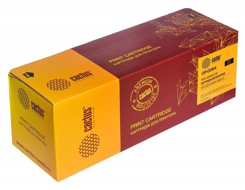 Лазерный картридж Cactus CSP-CE285A (HP 85A) черный для принтеров HP LaserJet P1100, P1101, P1102, P1102s, P1102w, P1103, P1104, P1104w, P1106, P1106w, P1108, P1109, M1130 MFP, M1132, M1212 MFP, M1217, M1217nfw MFP (3000 стр.)Лазерные картриджи Premium<br>Лазерный картридж&amp;nbsp;Cactus CSP-CE285A&amp;nbsp;(HP 85A)&amp;nbsp;полностью аналогичен картриджу Hewlett-Packard CE285A&amp;nbsp;(HP 85A). Его цвет - черный, а ресурс данной модели - порядка 3000 страниц (при 5% заполнении листа). Картридж Cactus CSP-CE285A&amp;nbsp;совместим с различными моделями лазерных принтеров HP LaserJet P1100, P1101, P1102, P1102s, P1102w, P1103, P1104, P1104w, P1106, P1106w, P1108, P1109, M1130 MFP, M1132, M1212 MFP, M1217, M1217nfw MFP. Срок гарантийного обслуживания, который предоставляет Cactus - 1 год. Вобрав в себя все лучшие качества оригинала, картридж Cactus CSP-CE285A&amp;nbsp;при этом стоит гораздо дешевле, что не может не радовать пользователей оргтехники, и особенно людей практичных, не привыкших бросать деньги на ветер.<br>