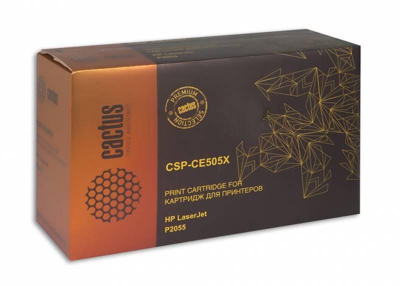 Лазерный картридж Cactus CSP-CE505X (HP 05X) черный для принтеров HP LaserJet P2050, P2055, P2055d, P2055dn, P2055x (8000 стр.)Лазерные картриджи Premium<br>Лазерный картридж&amp;nbsp;Cactus CSP-CE505X&amp;nbsp;(HP 05X)&amp;nbsp;полностью аналогичен картриджу Hewlett-Packard CE505X&amp;nbsp;(HP 05X). Его цвет - черный, а ресурс данной модели - порядка 8000 страниц (при 5% заполнении листа). Картридж Cactus CSP-CE505X&amp;nbsp;совместим с различными моделями лазерных принтеров HP LaserJet P2050, P2055, P2055d, P2055dn, P2055x. Срок гарантийного обслуживания, который предоставляет Cactus - 1 год. Вобрав в себя все лучшие качества оригинала, картридж Cactus CSP-CE505X&amp;nbsp;при этом стоит гораздо дешевле, что не может не радовать пользователей оргтехники, и особенно людей практичных, не привыкших бросать деньги на ветер.<br>