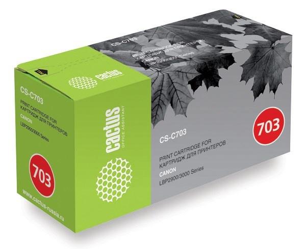 Лазерный картридж Cactus CS-C703 (№703) черный для принтеров Canon LBP 2900 i-Sensys, 2900B i-Sensys, 3000 i-Sensys Laser Shot (2000 стр.)Лазерные картриджи<br>Лазерный картридж&amp;nbsp;Cactus CS-C703&amp;nbsp;(№703). Он совместим с лазерными принтерами&amp;nbsp;Canon Canon LBP 2900 i-Sensys, 2900B i-Sensys, 3000 i-Sensys Laser Shot.&amp;nbsp;Цвет - черный. С помощью данного картриджа Вы сможете распечатать порядка 2000 страниц текста (при 5% заполнении листа).&amp;nbsp; Cactus CS-C703 создан по аналогии скартриджем Canon&amp;nbsp;C703 (№703), нисколько не уступает ему по качеству печати, но цена его значительно ниже. Это позволит Вам немного сэкономить, ничего при этом не потеряв. На тонер-картридж Cactus CS-C703 распространяется гарантия 1 год с момента приобретения.<br>