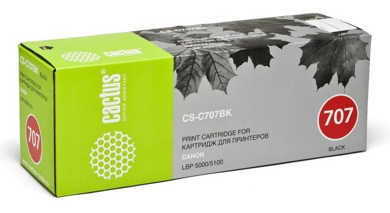 Лазерный картридж Cactus CS-C707BK (№707BK) черный для принтеров Canon LBP 5000 i-Sensys Laser Shot, 5100 i-Sensys (2500 стр.)Лазерные картриджи<br>Лазерный картридж&amp;nbsp;Cactus CS-C707BK&amp;nbsp;(№707BK). Он совместим с лазерными принтерами&amp;nbsp;Canon LBP 5000 i-Sensys Laser Shot, 5100 i-Sensys.&amp;nbsp;Цвет - черный. С помощью данного картриджа Вы сможете распечатать порядка 2500 страниц текста (при 5% заполнении листа).&amp;nbsp; Cactus CS-C707BK&amp;nbsp;создан по аналогии скартриджем Canon&amp;nbsp;C707BK&amp;nbsp;(№707BK), нисколько не уступает ему по качеству печати, но цена его значительно ниже. Это позволит Вам немного сэкономить, ничего при этом не потеряв. На тонер-картридж Cactus CS-C707BK&amp;nbsp;распространяется гарантия 1 год с момента приобретения.<br>