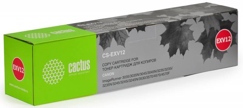 Лазерный картридж Cactus CS-EXV12 (C-EXV12) черный для принтеров Canon IR 3035, IR 3035N, IR 3045, IR 3045N, IR 3235, IR 3235i, IR 3235N, IR 3245, IR 3245i, IR 3245N, IR 3530, IR 3570, IR 4570, IR 4570F (24000 стр.)Лазерные картриджи<br>Лазерный картридж&amp;nbsp;Cactus CS-EXV12&amp;nbsp;(С-EXV12). Он совместим с лазерными принтерами&amp;nbsp;Canon ImageRunner 3035, 3035N, 3045, 3045N, 3235, 3235i, 3235N, 3245, 3245i, 3245N, 3530, 3570, 4570, 4570F.&amp;nbsp;Цвет - черный. С помощью данного картриджа Вы сможете распечатать порядка 24000 страниц текста (при 5% заполнении листа).&amp;nbsp; Cactus CS-EXV12&amp;nbsp;создан по аналогии скартриджем Canon&amp;nbsp;EXV12&amp;nbsp;(С-EXV12), нисколько не уступает ему по качеству печати, но цена его значительно ниже. Это позволит Вам немного сэкономить, ничего при этом не потеряв. На тонер-картридж Cactus CS-EXV12&amp;nbsp;распространяется гарантия 1 год с момента приобретения.<br>