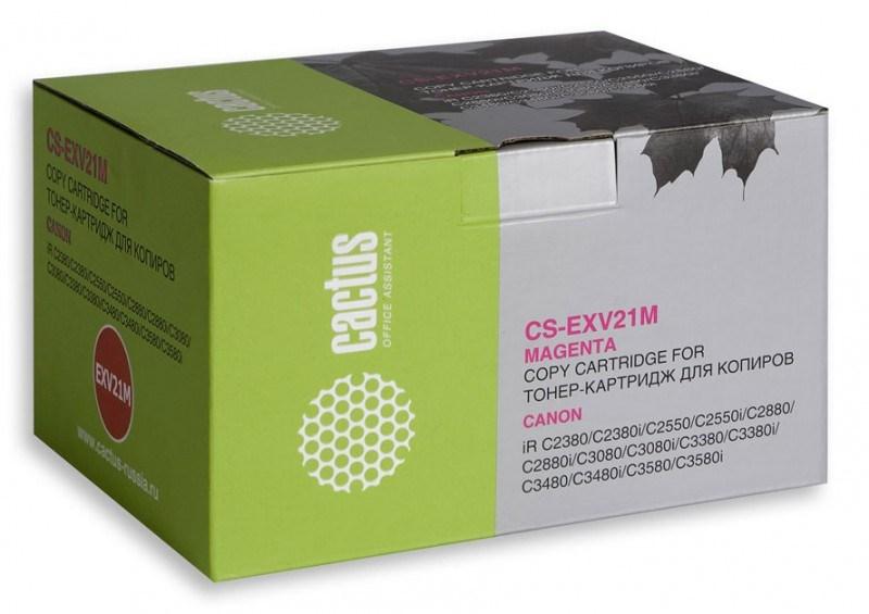 Лазерный картридж Cactus CS-EXV21M (C-EXV21M) пурпурный для принтеров Canon iR C2380, C2380i, C2550, C2550i, C2880, C2880i, C3080, C3080i, C3380, C3380i, C3480, C3480i, C3580, C3580i (14000 стр.)Лазерные картриджи<br>Лазерный картридж&amp;nbsp;Cactus CS-EXV21M&amp;nbsp;(C-EXV21M). Он совместим с лазерными принтерами&amp;nbsp;Canon ImageRunner C2380, C2380i, C2550, C2550i, C2880, C2880i, C3080, C3080i, C3380, C3380i, C3480, C3480i, C3580, C3580i.&amp;nbsp;Цвет - пурпурный. С помощью данного картриджа Вы сможете распечатать порядка 14000 страниц текста (при 5% заполнении листа).&amp;nbsp; Cactus CS-EXV21M&amp;nbsp;создан по аналогии скартриджем Canon&amp;nbsp;EXV21M&amp;nbsp;(C-EXV21M), нисколько не уступает ему по качеству печати, но цена его значительно ниже. Это позволит Вам немного сэкономить, ничего при этом не потеряв. На тонер-картридж Cactus CS-EXV21M&amp;nbsp;распространяется гарантия 1 год с момента приобретения.<br>